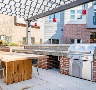 Artisan 4100 outdoor entertainment area table and grill
