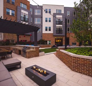 Fire pit in the outdoor courtyard